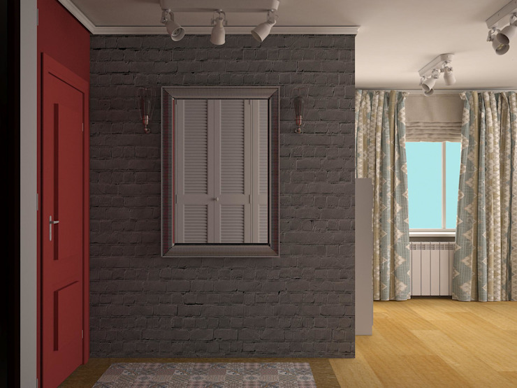 Eclectic style corridor, hallway & stairs by Яна Васильева. дизайн-бюро ya.va Eclectic Bricks