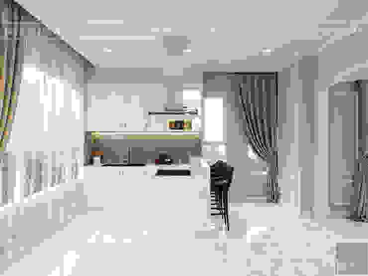 Thiết kế căn hộ cao cấp sang trọng mang phong cách Tân Cổ Điển Nhà bếp phong cách kinh điển bởi ICON INTERIOR Kinh điển