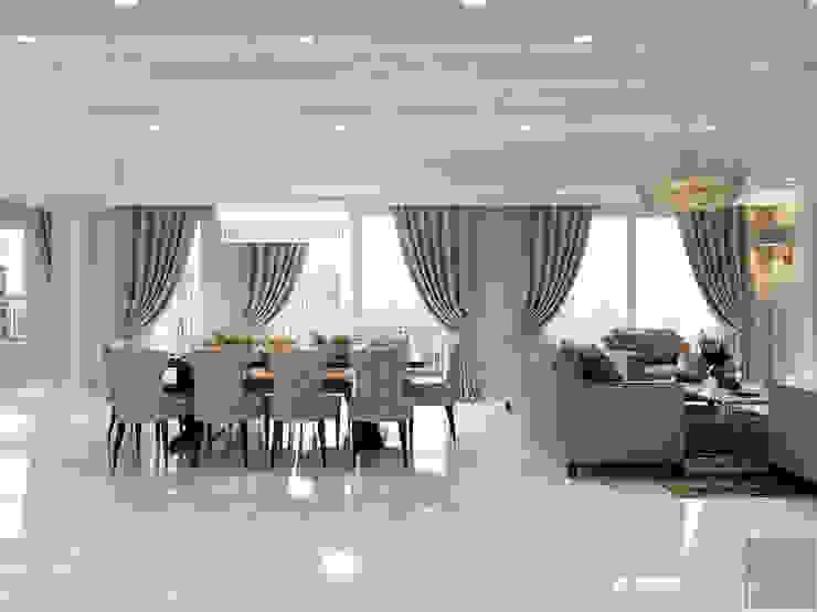 Thiết kế căn hộ cao cấp sang trọng mang phong cách Tân Cổ Điển Phòng ăn phong cách kinh điển bởi ICON INTERIOR Kinh điển