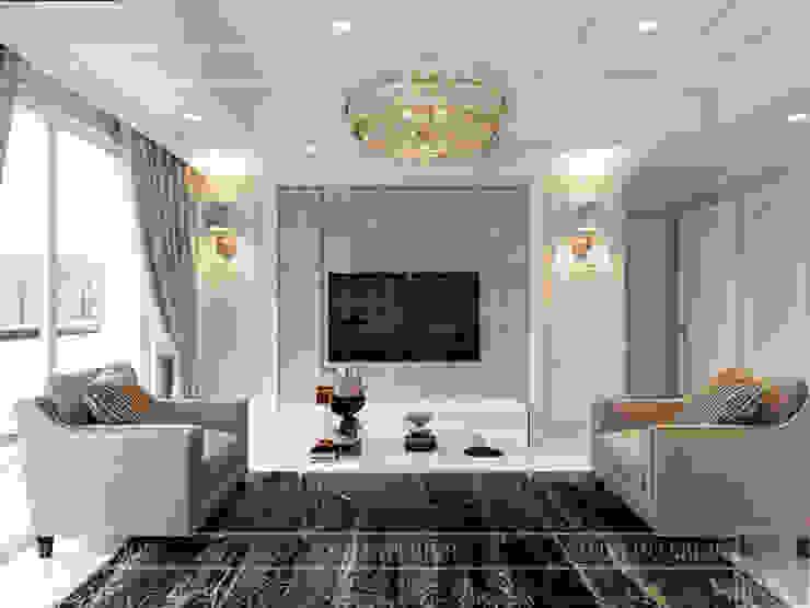 Thiết kế căn hộ cao cấp sang trọng mang phong cách Tân Cổ Điển Phòng khách phong cách kinh điển bởi ICON INTERIOR Kinh điển
