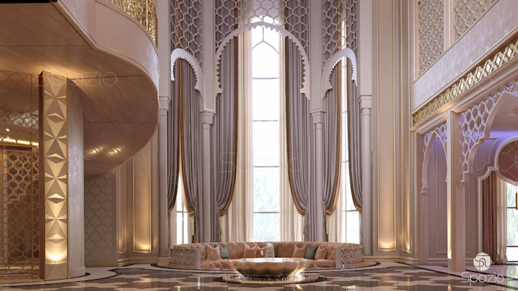 Luxury Maroccan interior design of the main hall of the villa الممر الأبيض، الرواق، أيضا، درج من Spazio Interior Decoration LLC بحر أبيض متوسط رخام