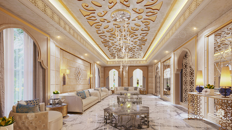 Modern Arabic majlis in Moroccan style of interior design by Spazio Interior Decoration LLC Mediterranean Marble