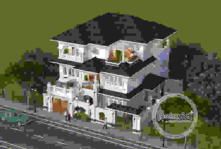 Phối cảnh mẫu thiết kế biệt thự 3 tầng phong cách Châu Âu (CĐT: Bà Mai - Hưng Yên) KT18037 bởi Công Ty CP Kiến Trúc và Xây Dựng Betaviet