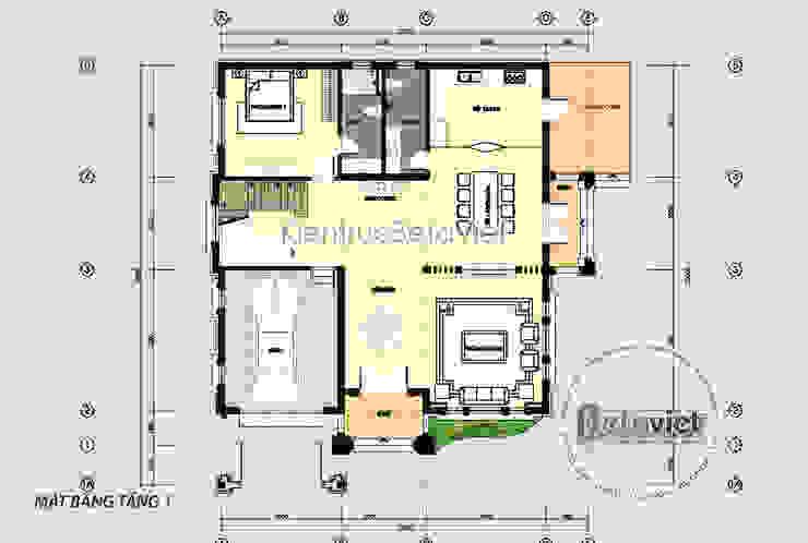 Mặt bằng tầng 1 mẫu thiết kế biệt thự 3 tầng phong cách Châu Âu (CĐT: Bà Mai - Hưng Yên) KT18037 bởi Công Ty CP Kiến Trúc và Xây Dựng Betaviet