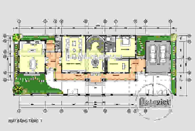 Mặt bằng tầng 1 mẫu thiết kế biệt thự 3 tầng Tân cổ điển đẹp lung linh (CĐT: Ông Thắng - Quảng Ninh) bởi Công Ty CP Kiến Trúc và Xây Dựng Betaviet