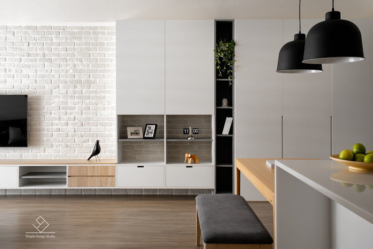 客廳端景牆 by 極簡室內設計 Simple Design Studio Scandinavian Wood-Plastic Composite