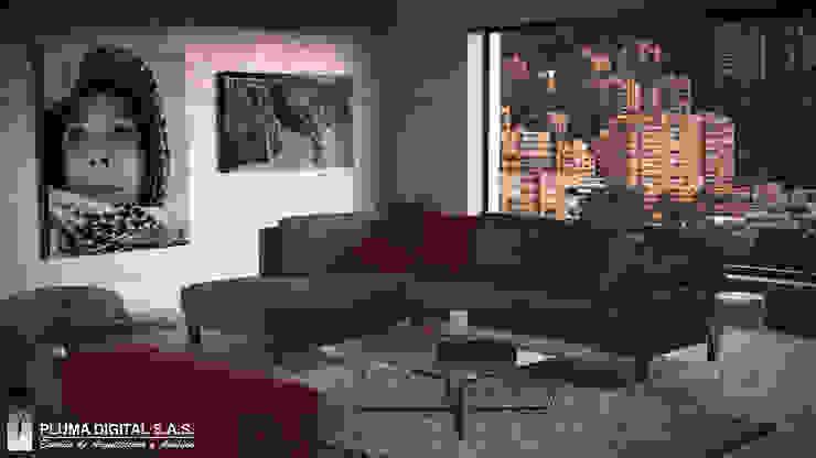 Visualización Arquitectónica Salas modernas de PLUMA DIGITAL SAS. Moderno