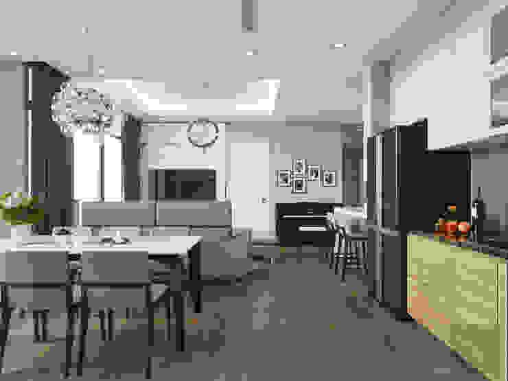 Phong cách hiện đại tại căn hộ Vinhomes Central Park đơn giản mà sang trọng Phòng ăn phong cách hiện đại bởi ICON INTERIOR Hiện đại