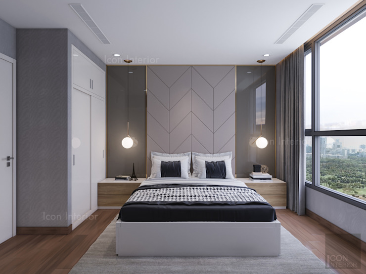 Phong cách hiện đại tại căn hộ Vinhomes Central Park đơn giản mà sang trọng Phòng ngủ phong cách hiện đại bởi ICON INTERIOR Hiện đại