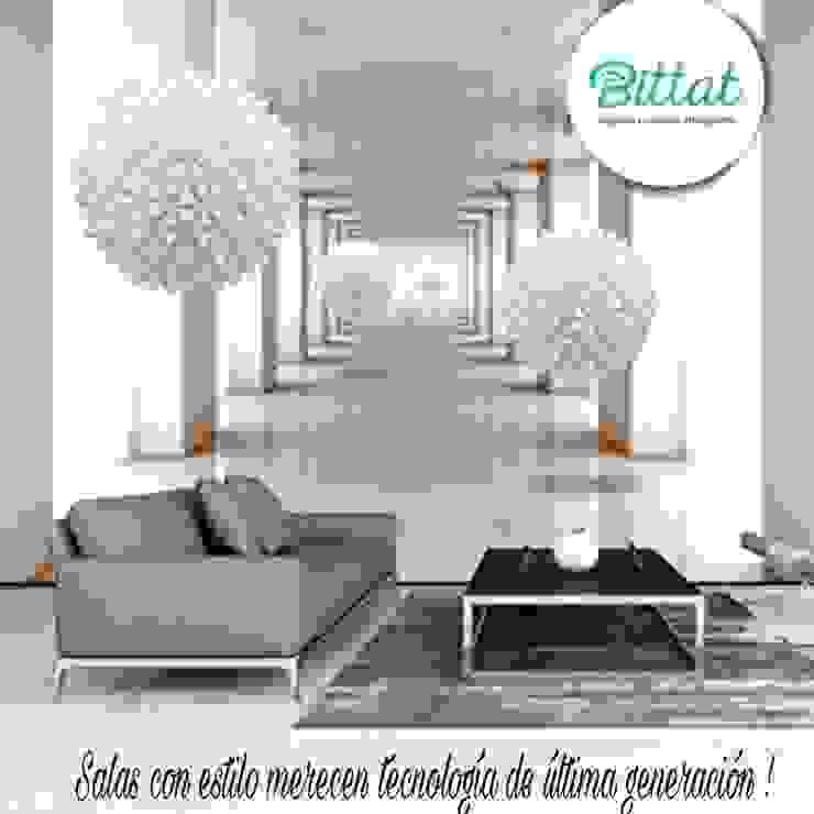 Automatización de luces y cortinas Estudios y despachos de estilo moderno de Bittat Moderno Tableros de virutas orientadas