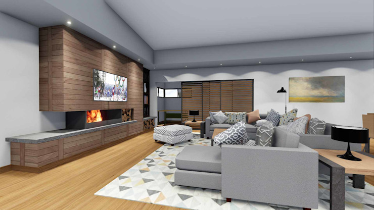 Mooikloof House Modern Living Room by du Toit Arch Modern Wood Wood effect