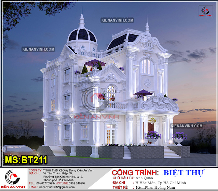 Mẫu thiết kế biệt thự Lâu Đài 3 tầng kiến trúc độc đáo bởi Kiến An Vinh Kinh điển