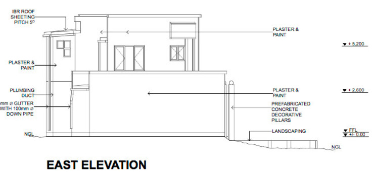 East Elevation by LINE Creative Interiors