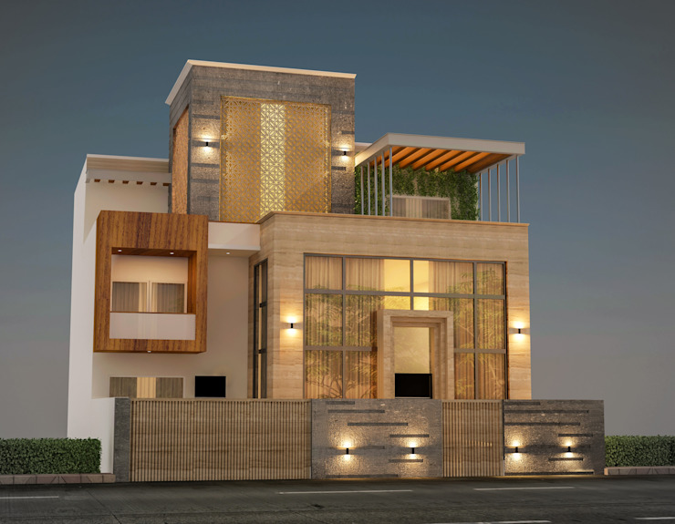 elevation of villa, 4500 sq. ft plot area. Gurgaon:  Villas by Form & Function,Modern Stone
