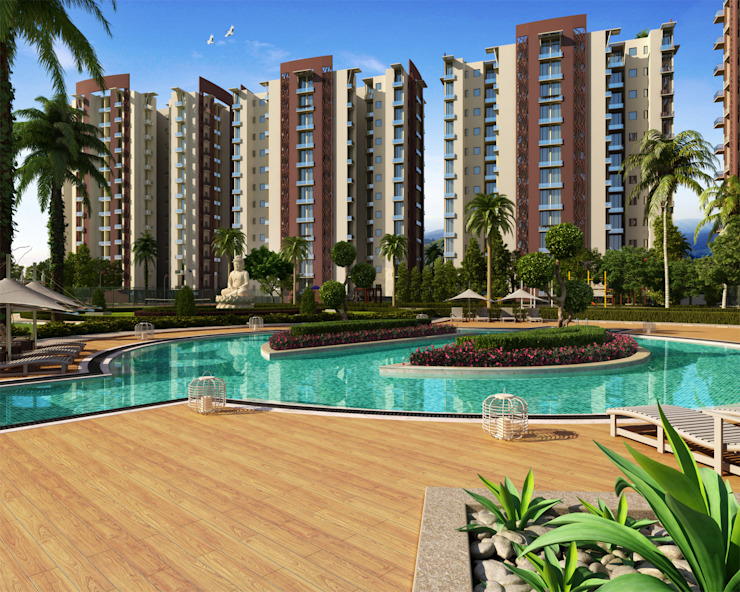 apartments swimming pool and landscape Modern bars & clubs by Form & Function Modern