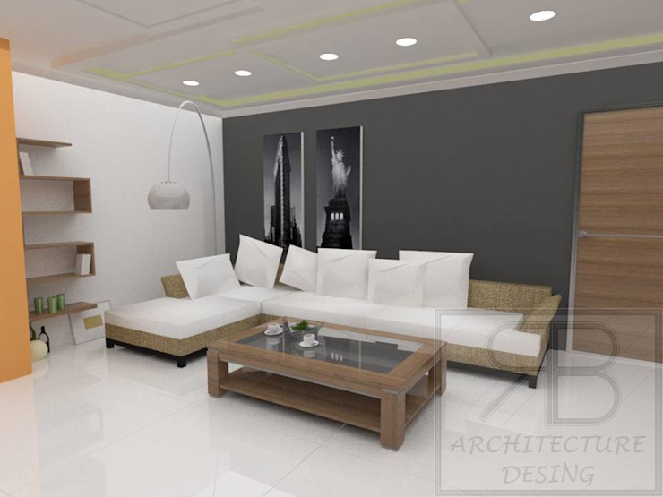RB Arquitectura & Diseño Modern Living Room Ceramic Grey