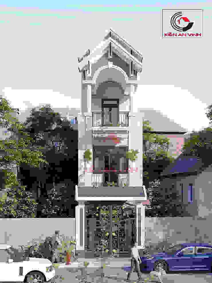 thiết kế nhà đẹp 3 tầng 40m2 Nhà phong cách châu Á bởi Cong ty thiet ke nha biet thu dep Kien An Vinh Châu Á