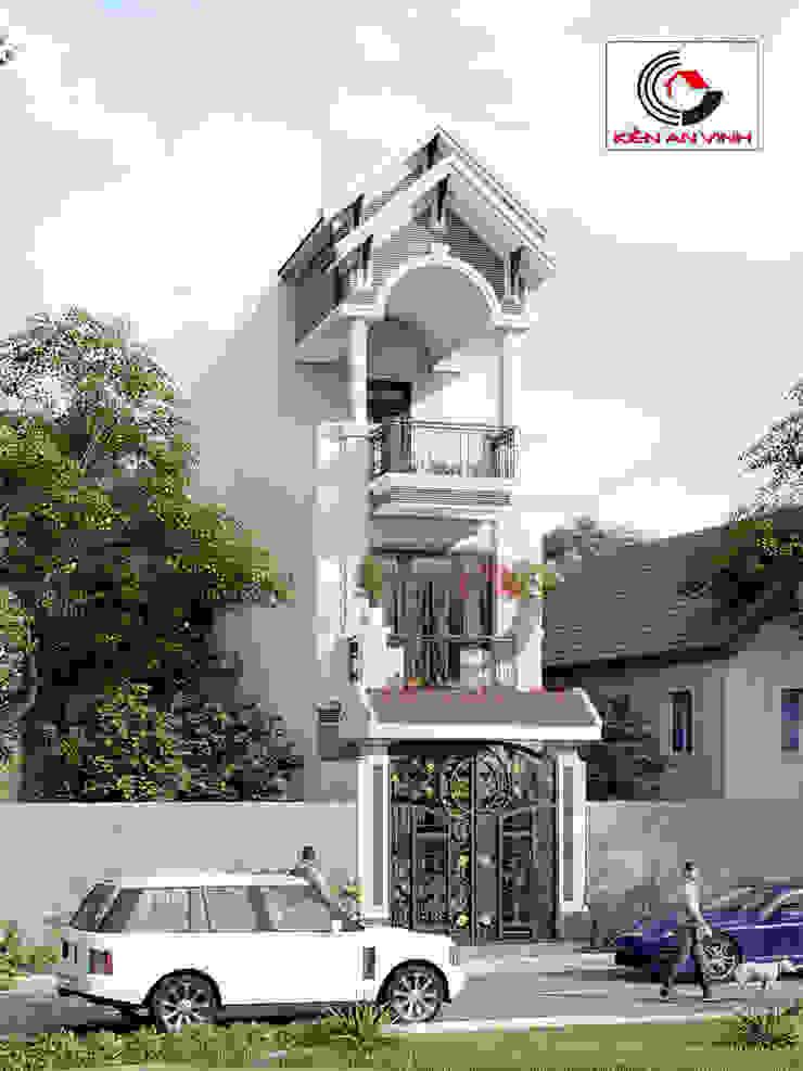 thiết kế nhà 3 tầng 40m2 Nhà phong cách châu Á bởi Cong ty thiet ke nha biet thu dep Kien An Vinh Châu Á