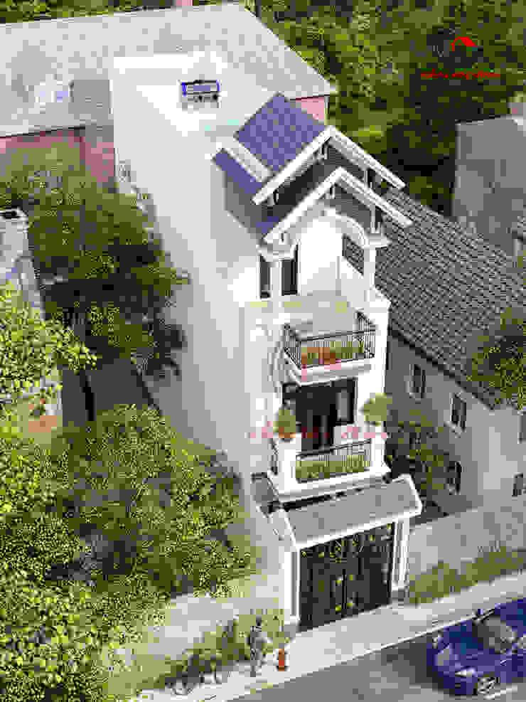 mẫu nhà đẹp 3 tầng 40m2 Nhà phong cách châu Á bởi Cong ty thiet ke nha biet thu dep Kien An Vinh Châu Á