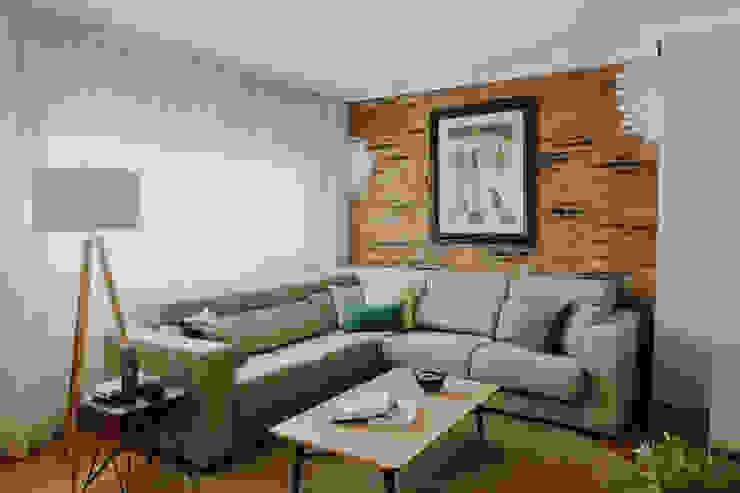 Aprovechar el espacio Comodoos Interiores Salones de estilo industrial Beige