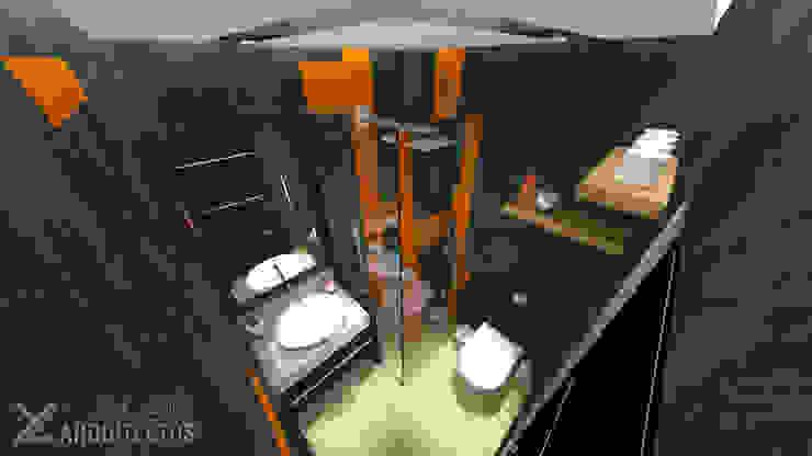 Diseño de Baño sec. Res. La Arboleda Baños de estilo moderno de arqyosephlopez Moderno