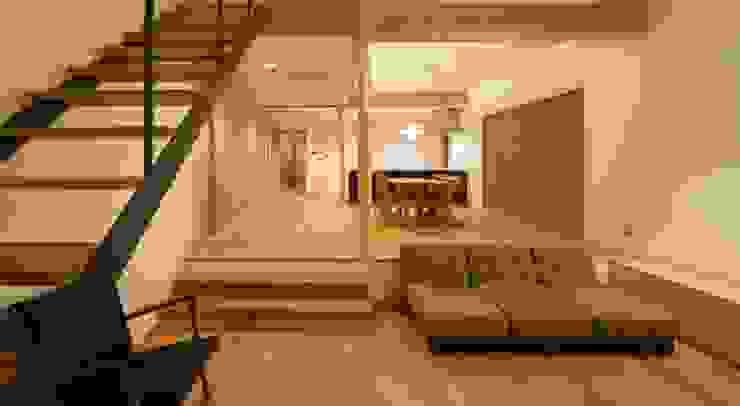 アトリエ・アースワーク Scandinavian style living room Wood Wood effect
