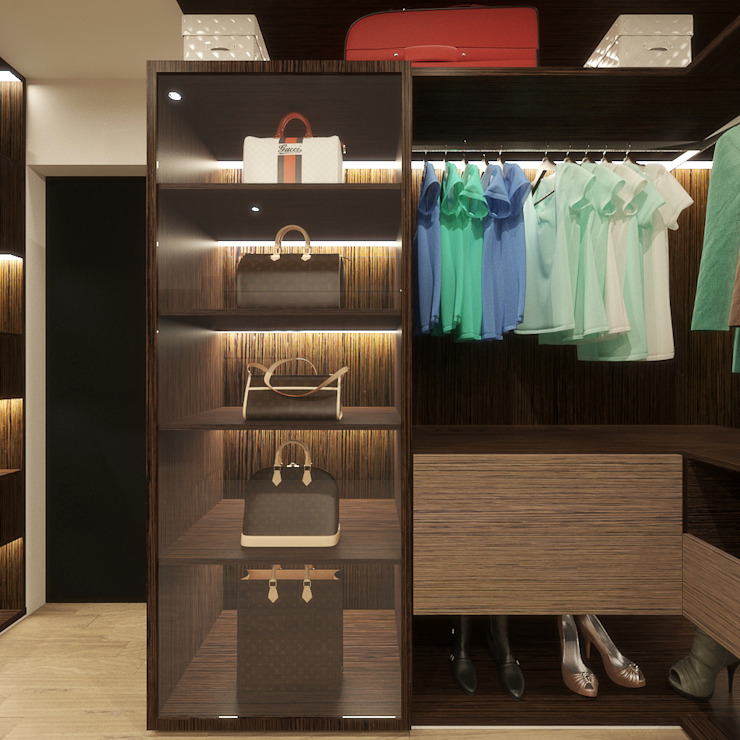 WALK-IN CLOSET (BAG DISPLAY UNIT DESIGN ADD ON) Modern style bedroom by Linken Designs Modern Wood Wood effect