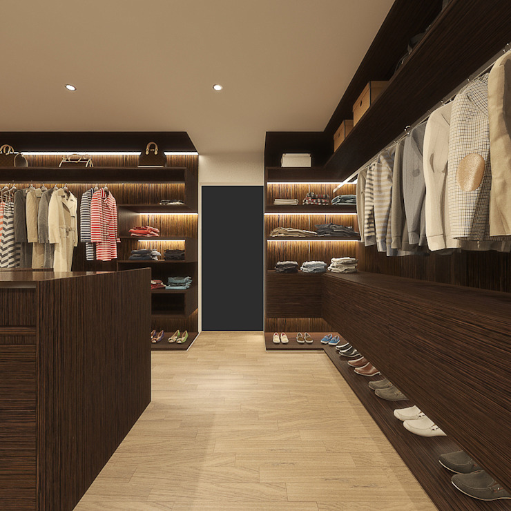 WALK-IN CLOSET Modern style bedroom by Linken Designs Modern Wood Wood effect