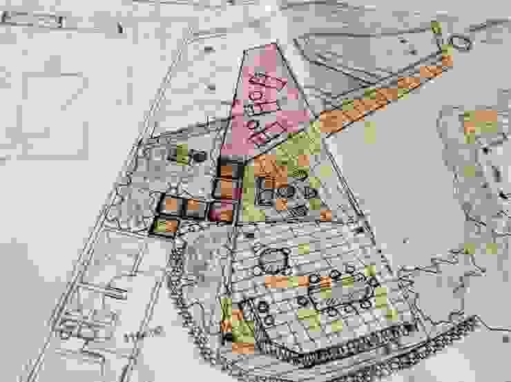 Croquis inicial del proyecto de áreas exteriores OMAR SEIJAS, ARQUITECTO Piscinas de estilo moderno