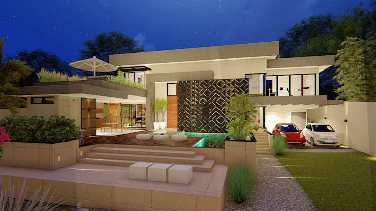 Fachada Principal IEZ Design Casas familiares Concreto Preto