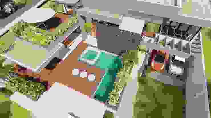 Vista Aérea IEZ Design Casas familiares Concreto Multi colorido