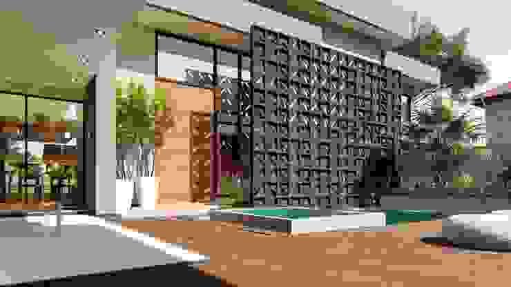 Porta de Acesso IEZ Design Portas de entrada Madeira Multi colorido