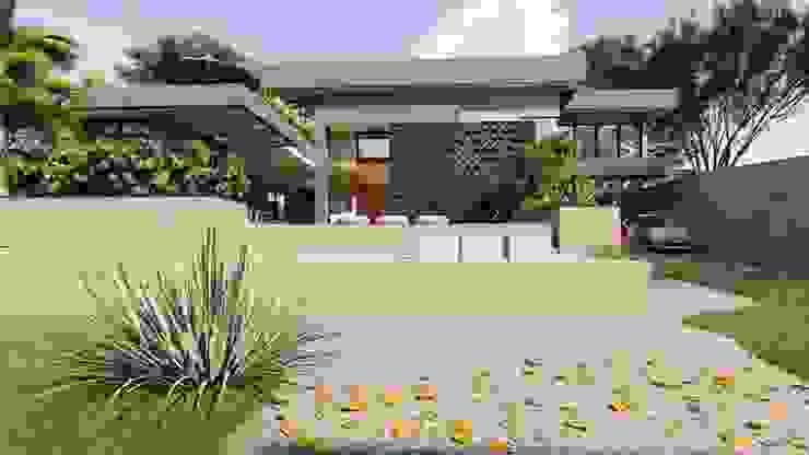 Fachada Frontal IEZ Design Casas familiares Concreto Multi colorido