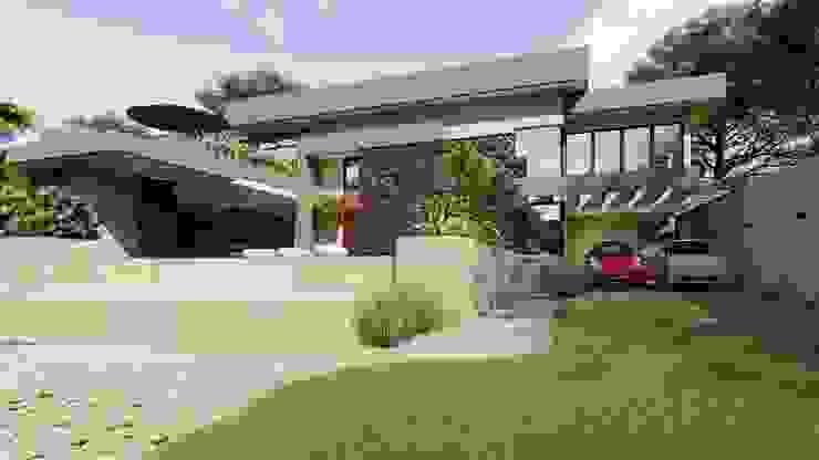 Fachada Principal IEZ Design Casas familiares Concreto Multi colorido