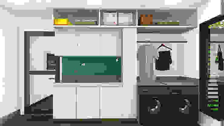 Lavanderia IEZ Design Armários e bancadas de cozinha Cerâmica Branco