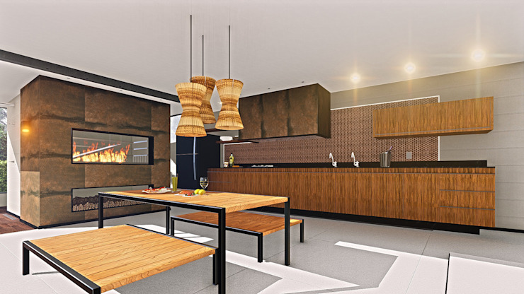 IEZ Design Dapur Modern Kayu Brown