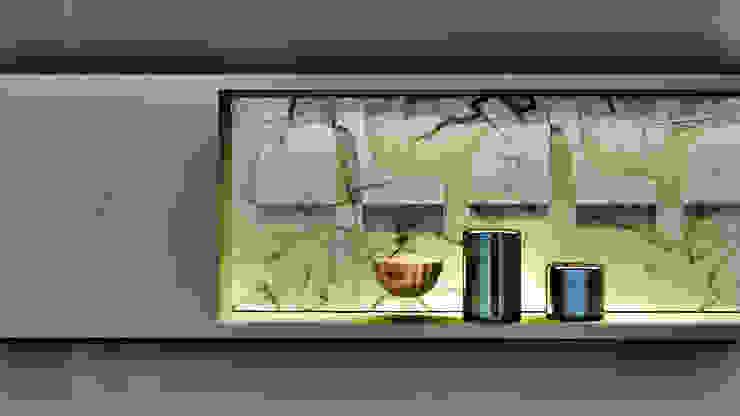 Detalhe Nicho Banheiro Master IEZ Design Banheiros modernos Mármore Branco