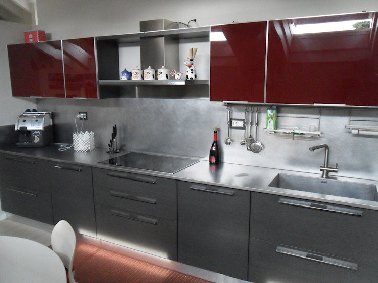 Formarredo Due design 1967 Cocinas integrales Vidrio Rojo