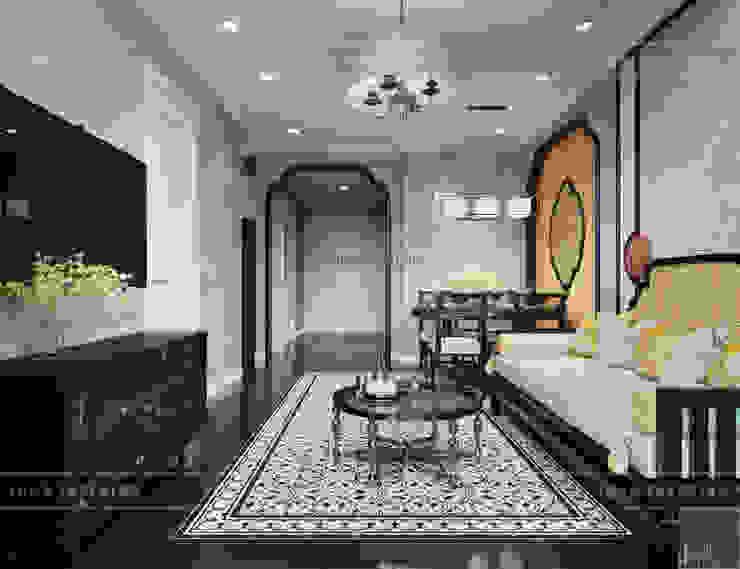 XU HƯỚNG ĐÔNG DƯƠNG ẤN TƯỢNG - Thiết kế căn hộ Vinhomes Golden River Phòng khách phong cách châu Á bởi ICON INTERIOR Châu Á