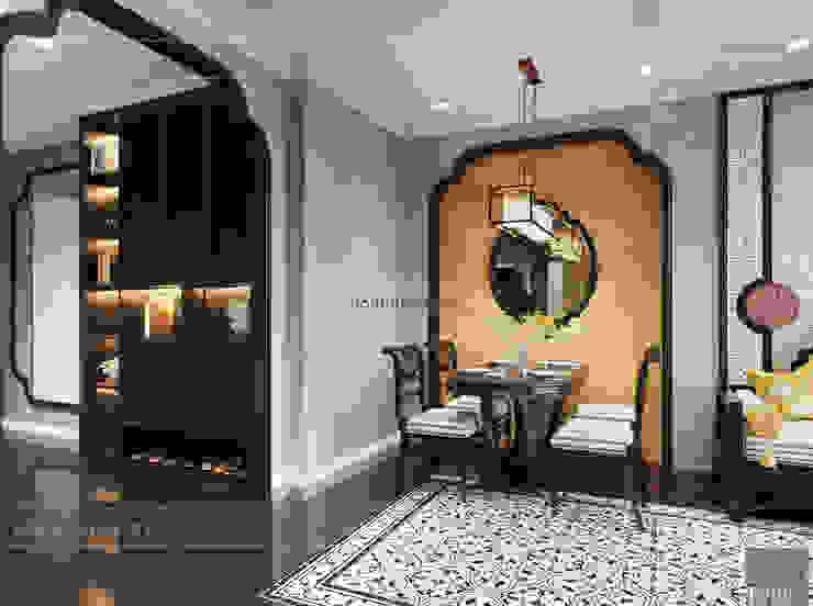 XU HƯỚNG ĐÔNG DƯƠNG ẤN TƯỢNG – Thiết kế căn hộ Vinhomes Golden River Phòng ăn phong cách châu Á bởi ICON INTERIOR Châu Á