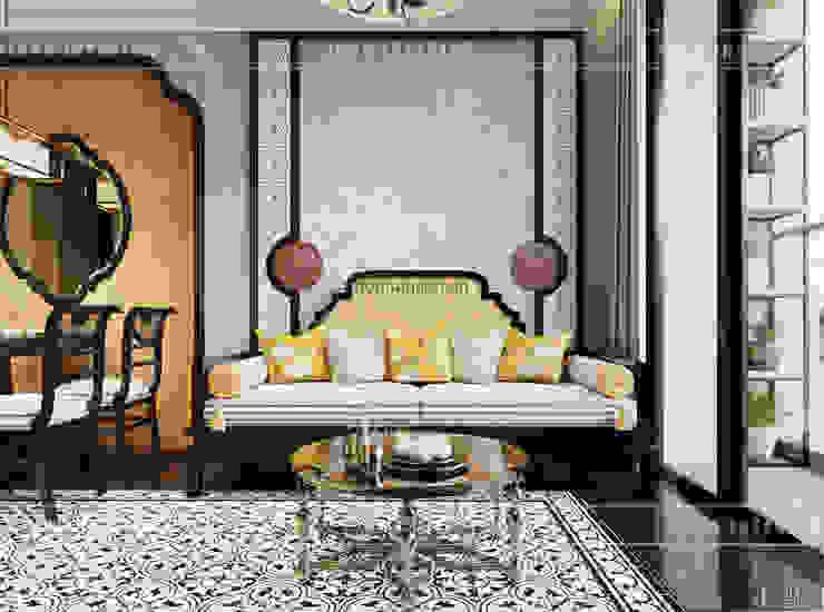 XU HƯỚNG ĐÔNG DƯƠNG ẤN TƯỢNG – Thiết kế căn hộ Vinhomes Golden River Phòng khách phong cách châu Á bởi ICON INTERIOR Châu Á