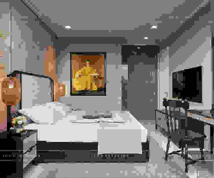 XU HƯỚNG ĐÔNG DƯƠNG ẤN TƯỢNG – Thiết kế căn hộ Vinhomes Golden River Phòng ngủ phong cách châu Á bởi ICON INTERIOR Châu Á