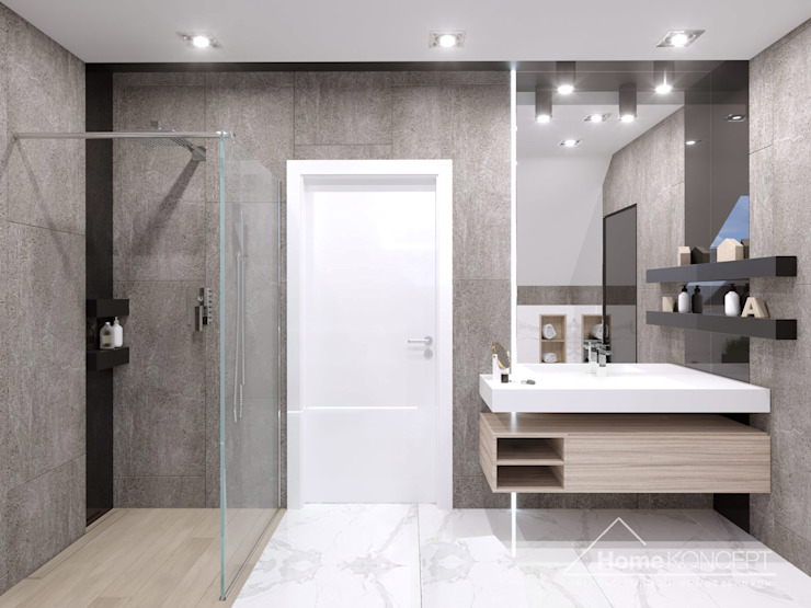 Baños modernos de HomeKONCEPT | Projekty Domów Nowoczesnych Moderno
