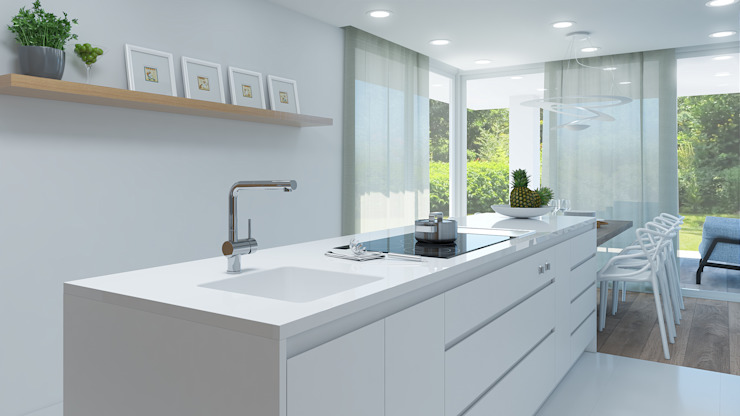 Rendering All Built-in kitchens Wood-Plastic Composite White