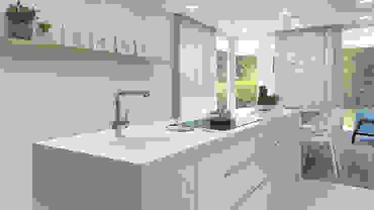 Rendering All 置入式廚房 塑木複合材料 White