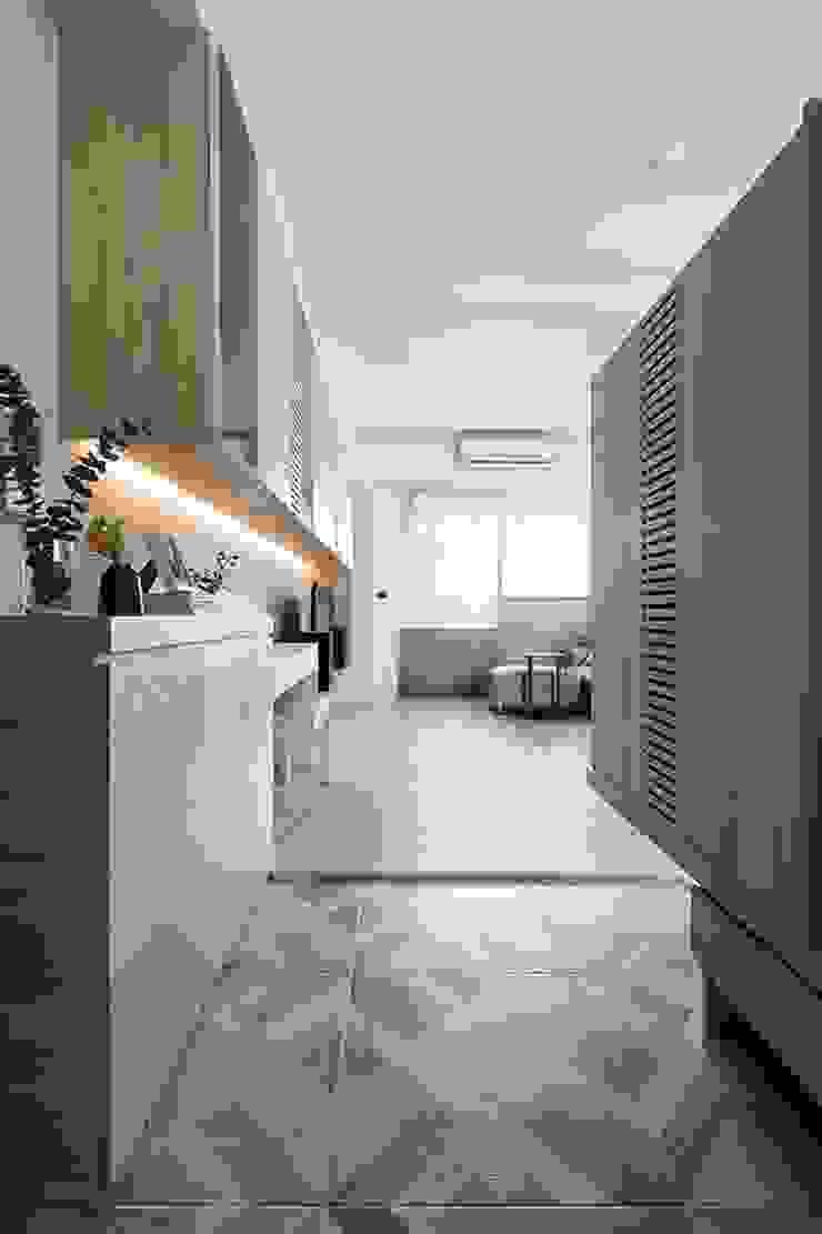 沐光‧書院造 亞洲風玄關、階梯與走廊 根據 禾光室內裝修設計 ─ Her Guang Design 日式風、東方風