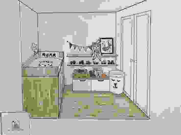 Schets van de gerealiseerde kinderkamer van Studio Room by Room
