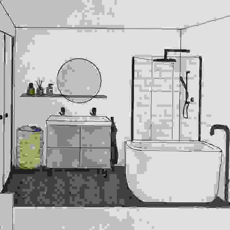 Schets luxe badkamer met zitbad van Studio Room by Room