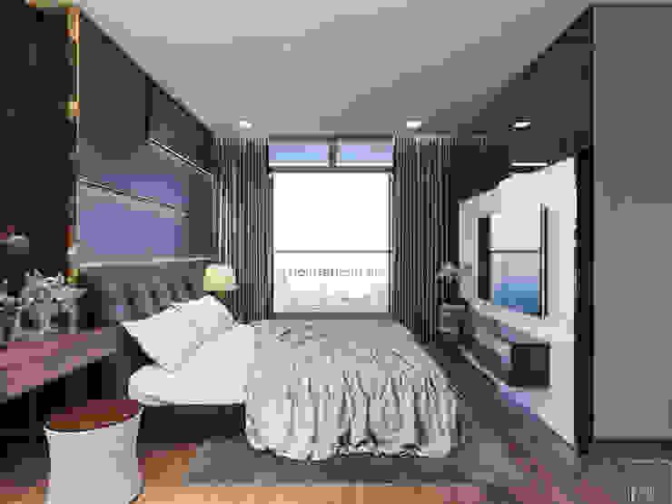 THIẾT KẾ NỘI THẤT CAO CẤP HOÀN CHỈNH CHO CĂN HỘ VINHOMES Phòng ngủ phong cách hiện đại bởi ICON INTERIOR Hiện đại
