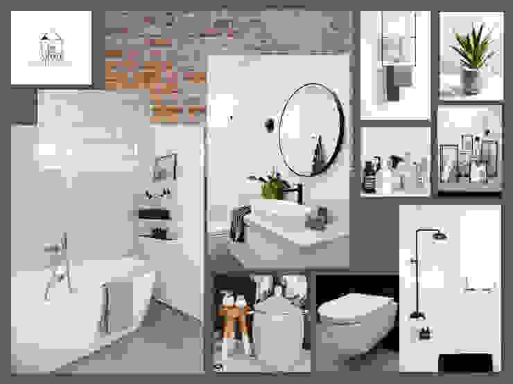Moodboard industriële badkamer Industriële badkamers van Studio Room by Room Industrieel